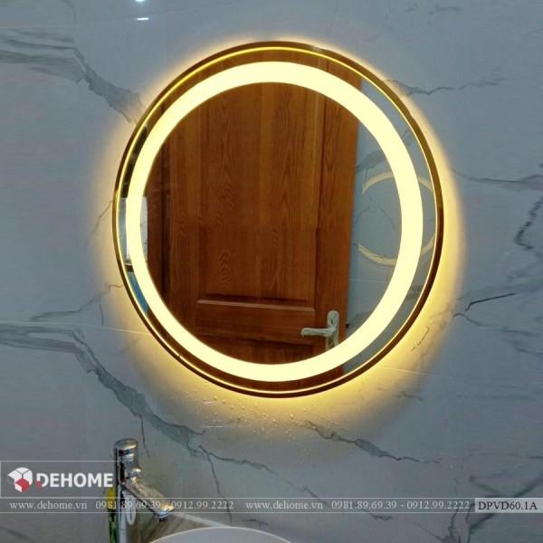 Gương tròn khung inox mạ PVD màu vàng Dehome - DPVD60.1A